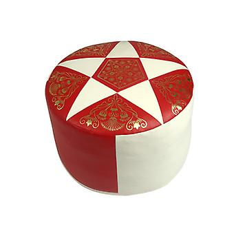 Almohadas de asiento Oriente alrededor de imitación de cuero rojo/champagne, ancho 50 cm, altura 34 cm