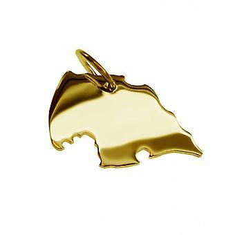 Remorque carte pendentifs en or jaune-or sous forme de FEHMARN