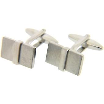 David Van Hagen rektangel 3D mansjettknapper - sølv