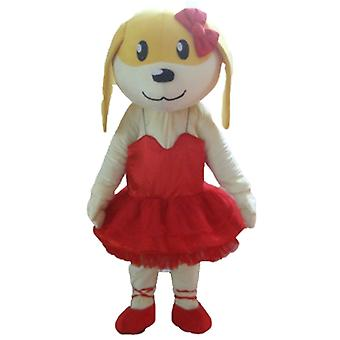 SPOTSOUND of yellow cat mascot, with a blue and red outfit