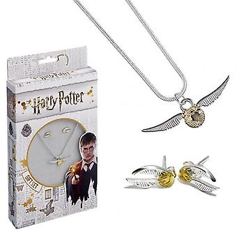 Harry Potter Silber vergoldet Halskette & Ohrring Golden Snitch