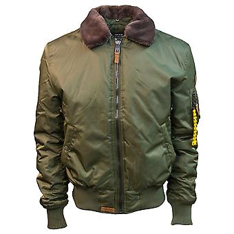 Top Gun B-15 Men's Heavy Duty Vintage Flight Bomber Jacket Olive