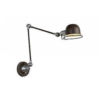 Lucide Honore Industrial Round Metal Rust Brown And Grey Wall Light