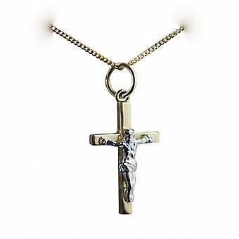 18ct goud 20x12mm massief blok kruisbeeld kruis met een curb Chain 20 inch