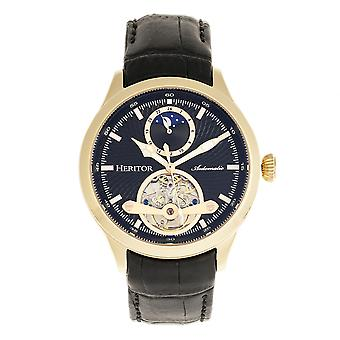 Heritor Gregory automático relógio de couro-banda semi esqueleto - preto/ouro
