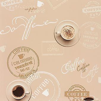 Kaffekop tapet Beige brun typografi Script køkken maskinvaskes Vinyl