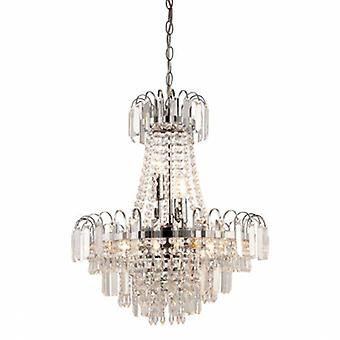 6 Light Ceiling Pendant Chrome, Clear Faceted Glass Beads
