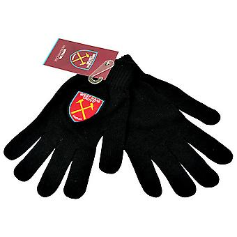 West Ham United FC Mens Official Knitted Football Crest Design Gloves