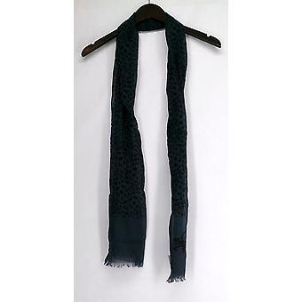 Diane Gilman lichtgewicht Cheetah print Fringe hem blauwe sjaal Womens 421-054