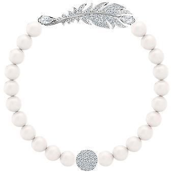 Swarovski pulsera de perla agradable - blanco - rodio plateado