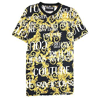 Versace Jeans Couture Logo Baroque Stampa T-shirt Nero 899