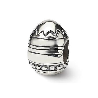 925 sterling silver polerad antik finish reflektioner påsk ägg pärla charm