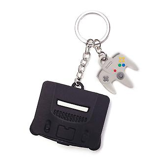 Nintendo Schlüsselanhänger Schlüsselanhänger 64 und Controller 3D Gummi neue offizielle
