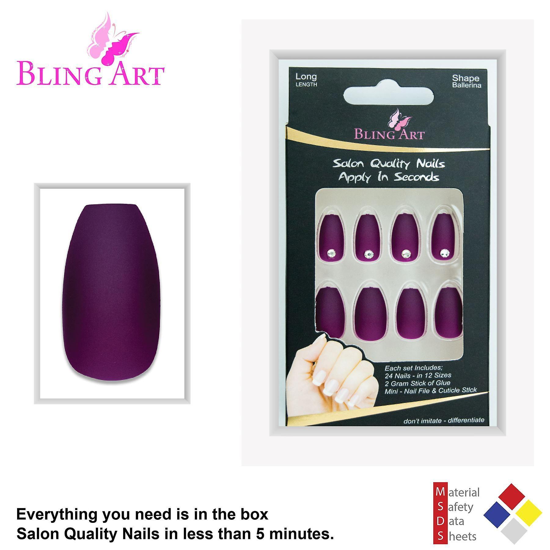 False nails by bling art purple matte ballerina coffin 24 fake long acrylic tips