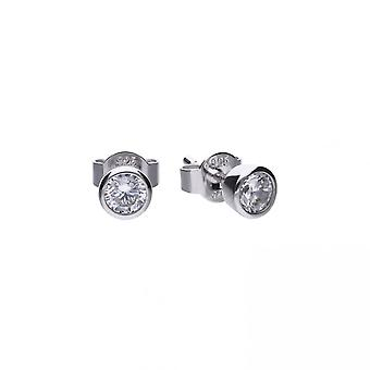 Diamonfire Silver White Zirconia Solitaire Earrings E5617