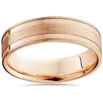 6mm 14K ροζ χρυσό βουρτσισμένο διπλό ένθετο γαμήλια μπάντα