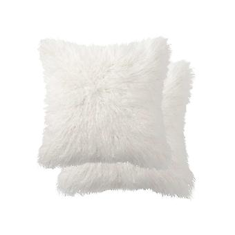 "18"" x 18"" x 5"" Off White Faux Fur  Pillow 2 Pack"
