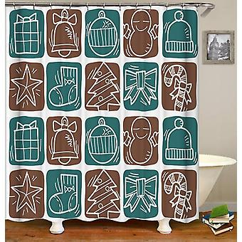 Turquoise And Brown Christmas' Checkers Shower Curtain