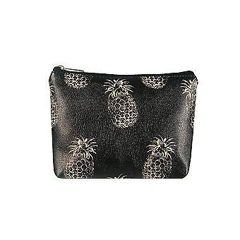 Jewelcity Womens/Ladies Contrast Pineapple Big Flat Makeup Bag