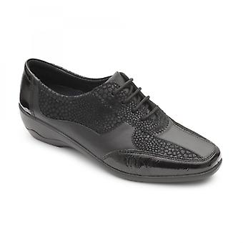 Padders Quartz Ladies Leather Wide (e/2e) Shoes Black