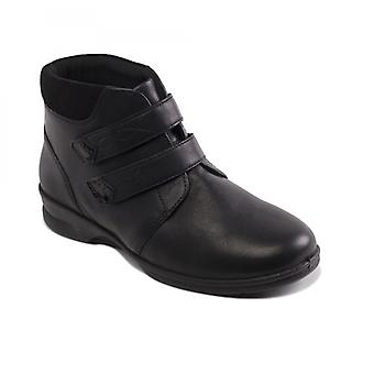Padders Kathy Ladies Leather Super Wide (4e/6e) Boots Black