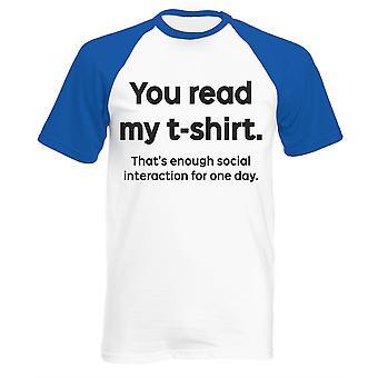 Men's you read my t-shirt baseball shirt short sleeve