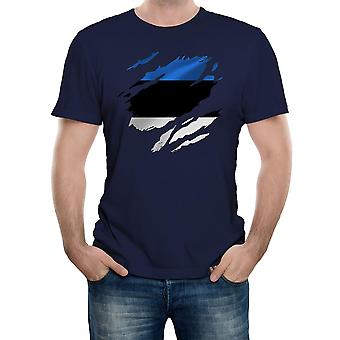 Reality glitch torn estonia flag mens t-shirt