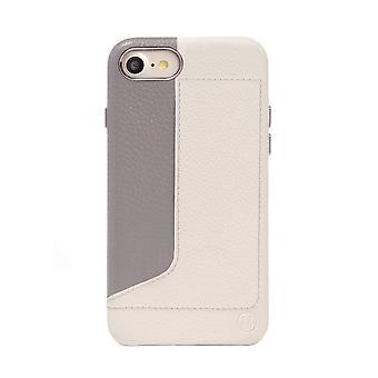 Stijlvolle wit/grijze iPhone SE / 8 / 7 case met kaarthouder