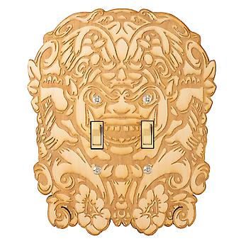 Mayan face double switch plate - raw wood - 6.6x8