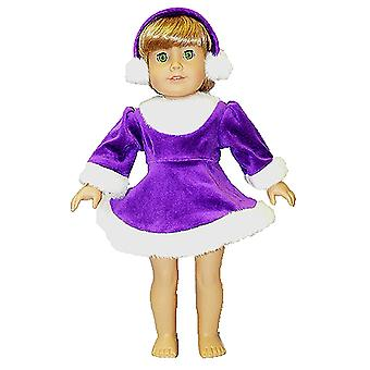 "18"" Doll Clothing Purple and White Dress with Ear Muffs"