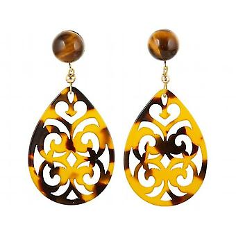Gemshine earrings tiger eye and tortoiseshell resin drop 925 silver plated