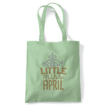 Little Miss April Tote | Happy Birthday Celebration Party Getting Older | Reusable Shopping Cotton Canvas Long Handled Natural Shopper Eco-Friendly Fashion