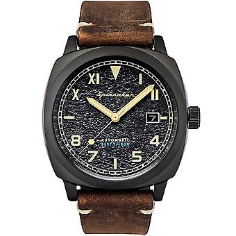 Spinaker Watch SP-5071-03-automatische Hull California datum Dateur lederen armband bruin Bo tier staal zwarte mannen