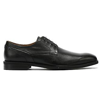 TOWER London Derby Mens Black Leather Shoes