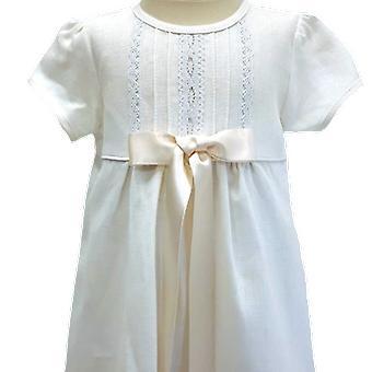 Dopklänning Grace Of Sweden, Kort ärm Off White Rosett.   Tr.a.k