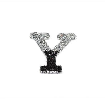 Black and Silver Double Glitter Alphabet Sticker - Y