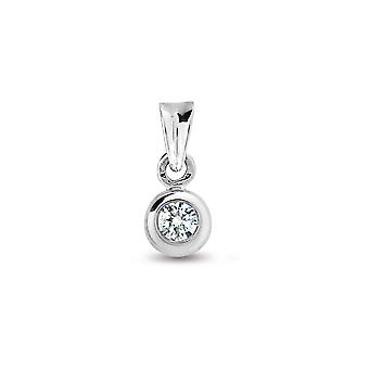 Jewelco London Ladies Solid 9ct White Gold Rub Over Set Round H I1 0.1ct Diamond Donut Ring Solitaire Pendant
