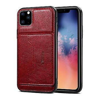 For iPhone 11 Pro Max Dibase TPU + PC + PU Wild Horse Texture Protective Case Wallet, Red