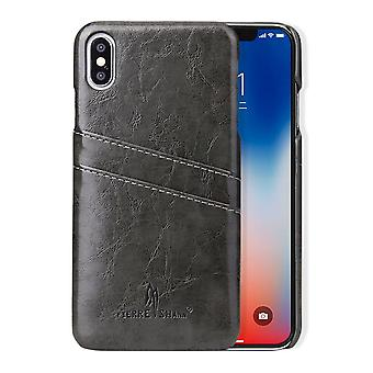 Pour iPhone XS MAX Cover,Deluxe Wallet avec Card Slots Leather Phone Case,Grey