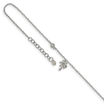 925 Sterling Silver Rhodium plated CZ Cubic Zirconia Simulated Diamond and Palm Tree With 1inch Ext. Anklet 9 Inch Jewel