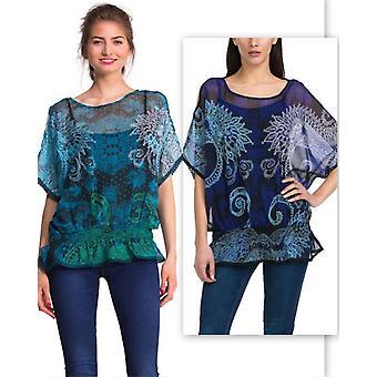 Desigual Women's Lace Print Chiffon Marina Blouse