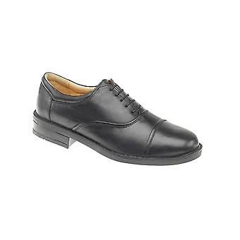 Roamers Black Softie Padded Goat Leather Blind Eye Capped Formal Lace Up Oxford Shoes