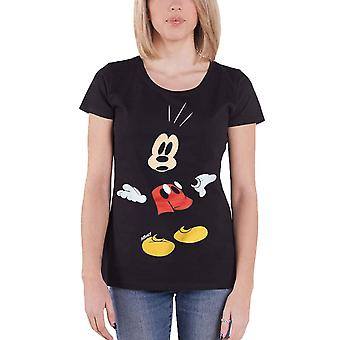 Official Womens Black Mickey Mouse T Shirt Surprised face Disney new Skinny Fit
