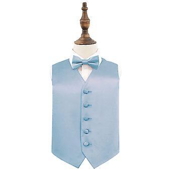 Dusty Blue Plain Satin Wedding Waistcoat & Bow Tie Set for Boys