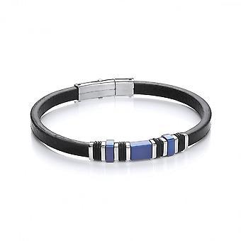 David Deyong Stainless Steel Vegan Leather Blue Bead Bracelet