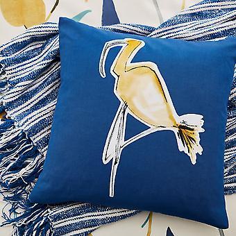 Oxalis Designer Print Cushion By Scion In Papaya Yellow