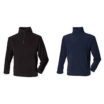 Henbury Mens 1/4 Zip Lightweight Inner Fleece Top