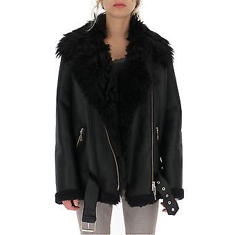 Amen Amw19119089 Damen's Schwarze Leder Oberbekleidung Jacke