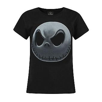 Nightmare Before Christmas Jack Skellington Girl's Black Short Sleeve T-Shirt