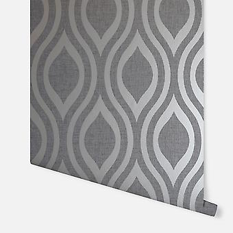 910202 - Luxe Ogee Gunmetal Silber - Arthouse Wallpaper